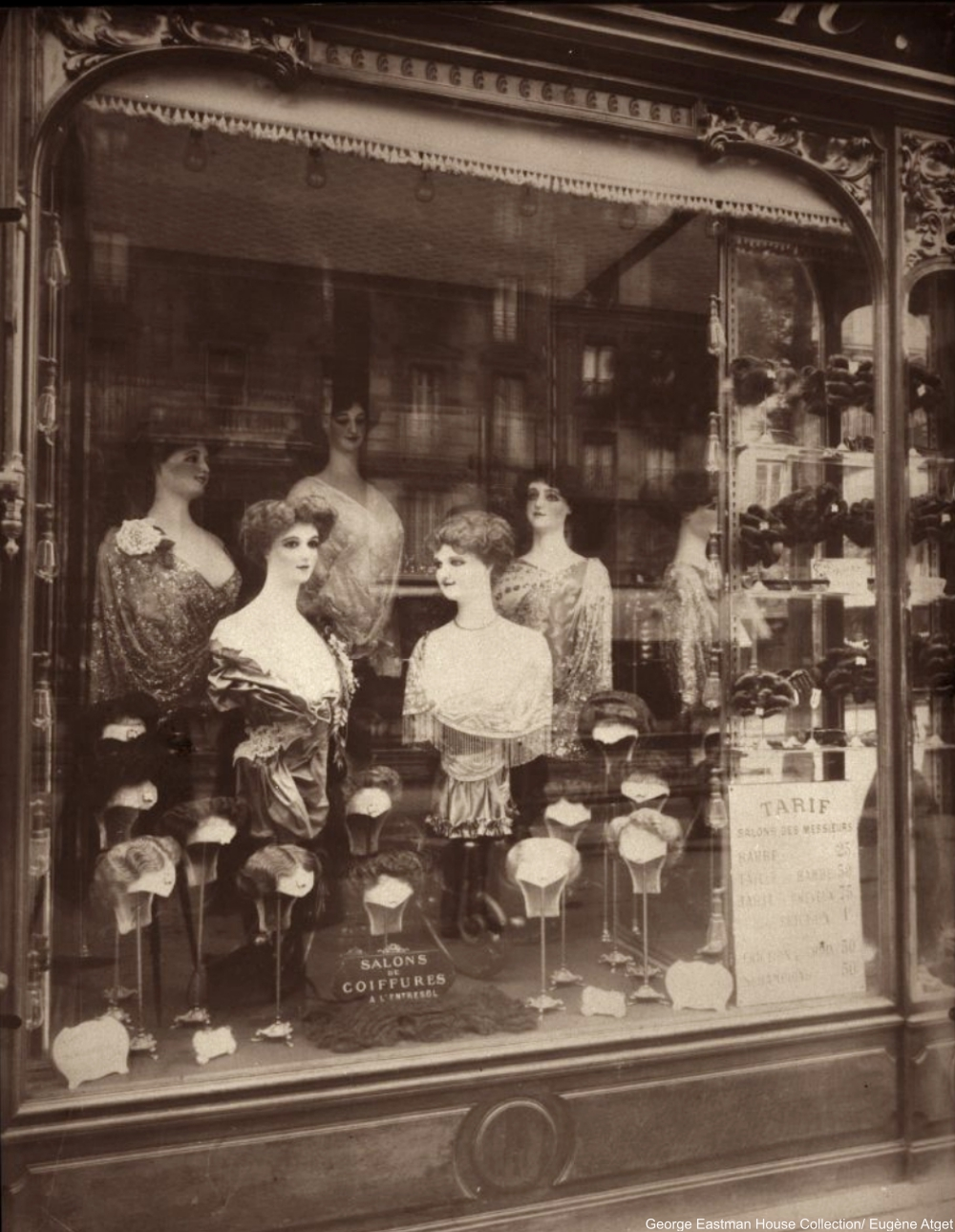 Coiffeur, Bd. de Strasbourg by Eugène Atget 1910s Shop Windows