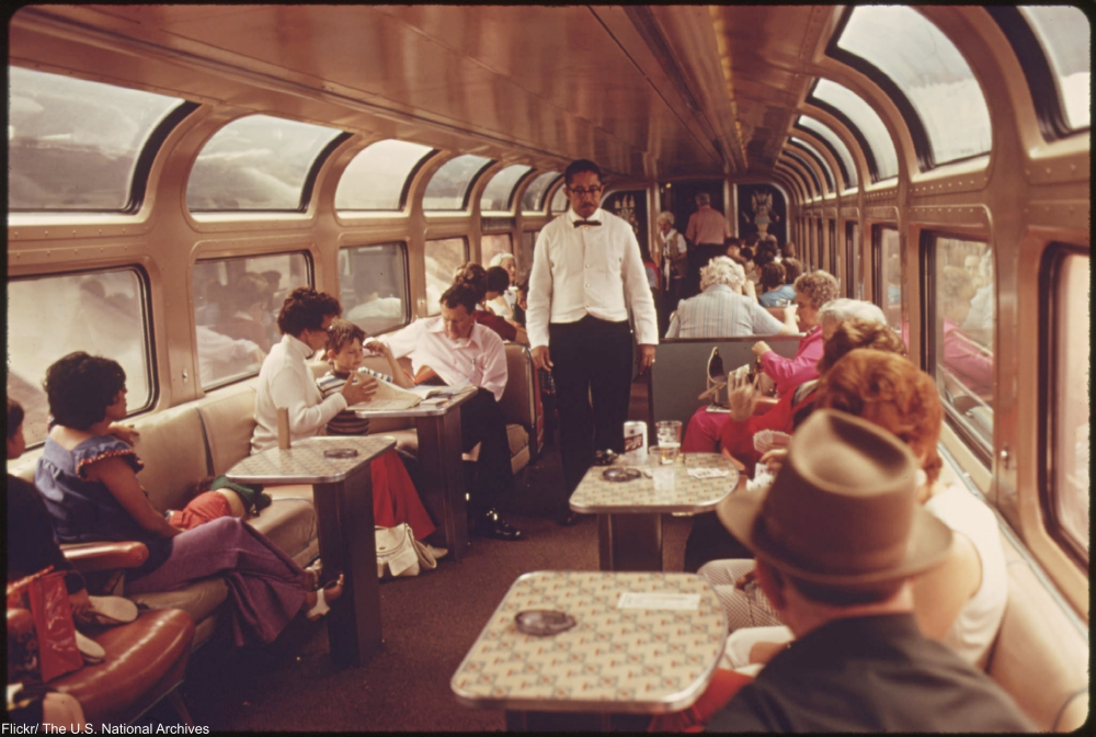 Amtrak Southwest Limited dining car, 1974.