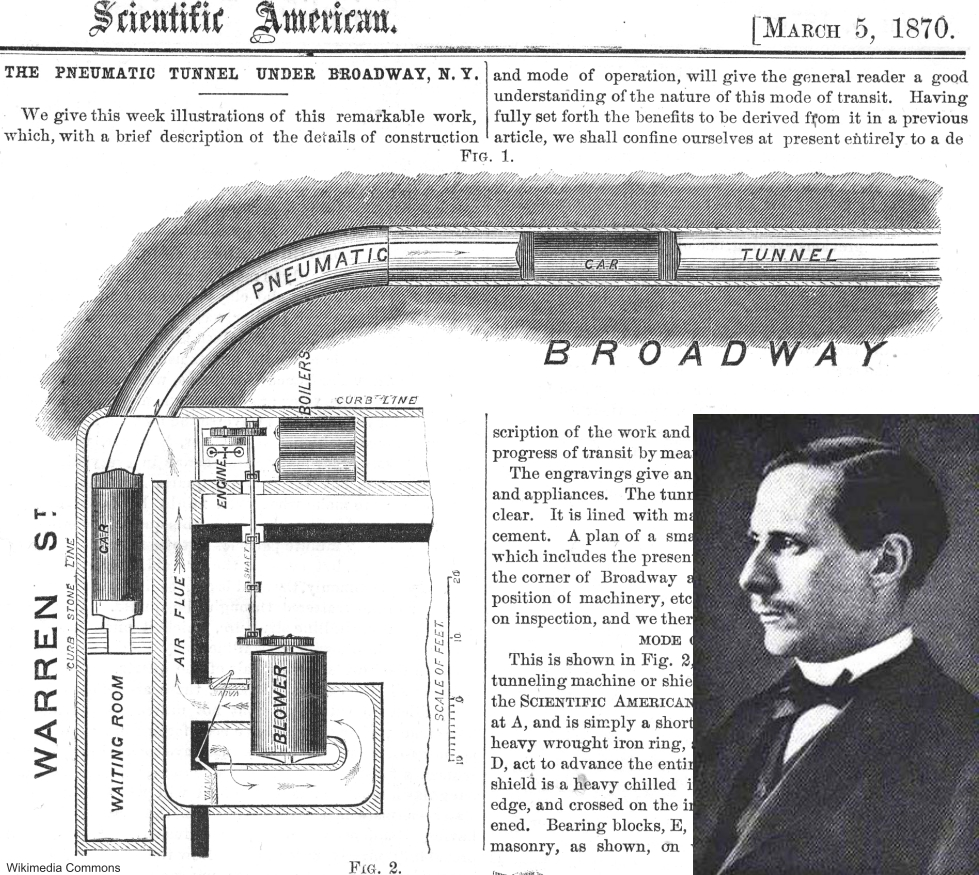 Alfred Ely Beach and his pneumatic subway diagram