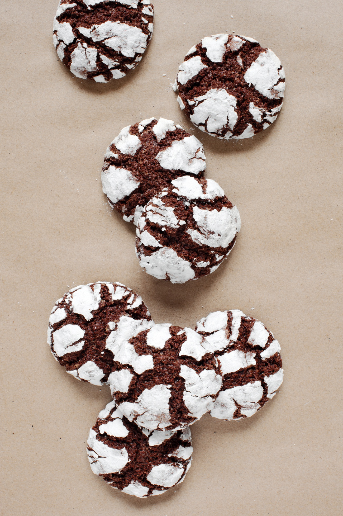 Chocolate crinkle cookies on the table