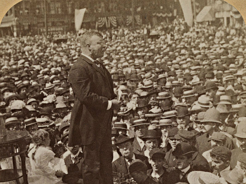 Roosevelt addressing crowd in Massachusetts, 1902 via Library of Congress