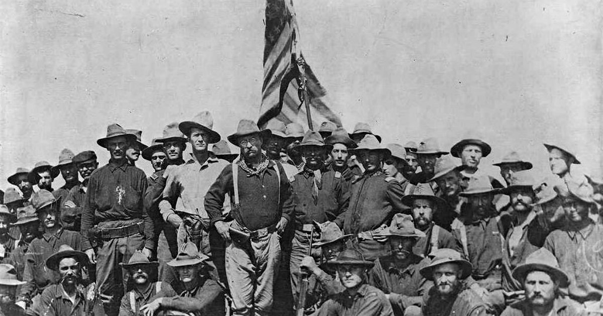 Colonel Roosevelt and the Rough Riders after capturing Kettle Hill, via Wiki Commons
