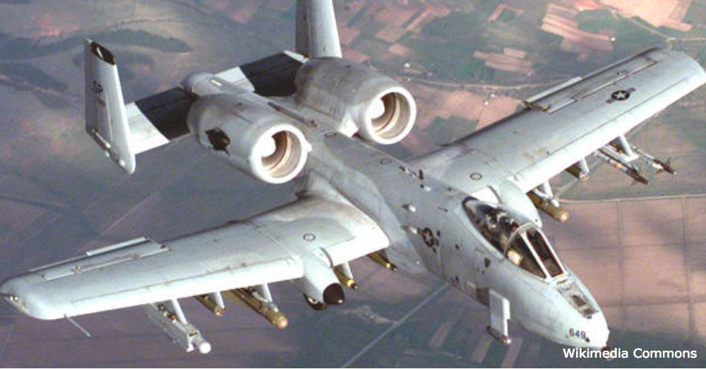 The training weapons were being transported in an A-10 Thunderbolt.