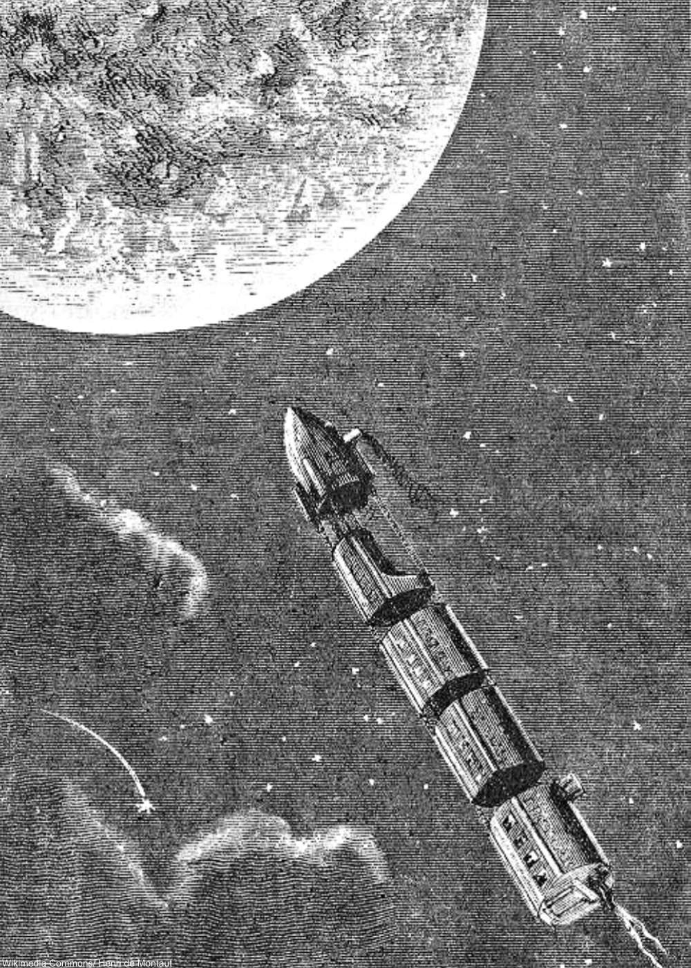 Illustration from Jules Verne's From the Earth to the Moon. width=