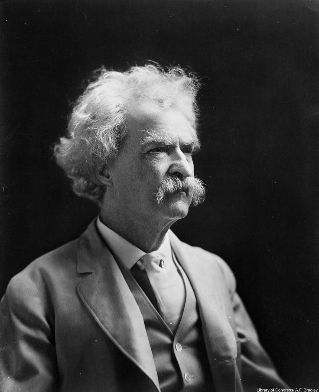 Mark Twain aka Samuel Clemens, photographed around the turn of the century.