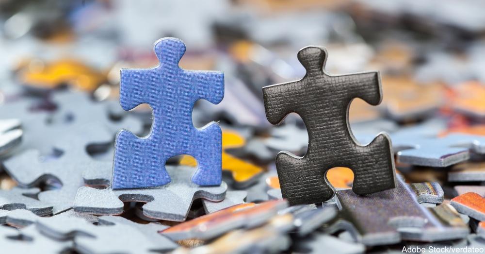 Black and blue puzzle pieces