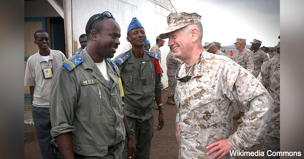 U.S. Marine Corps Forces Central Commander, Lt. Gen. James Mattis visits with local officials from Douda, Djibouti.