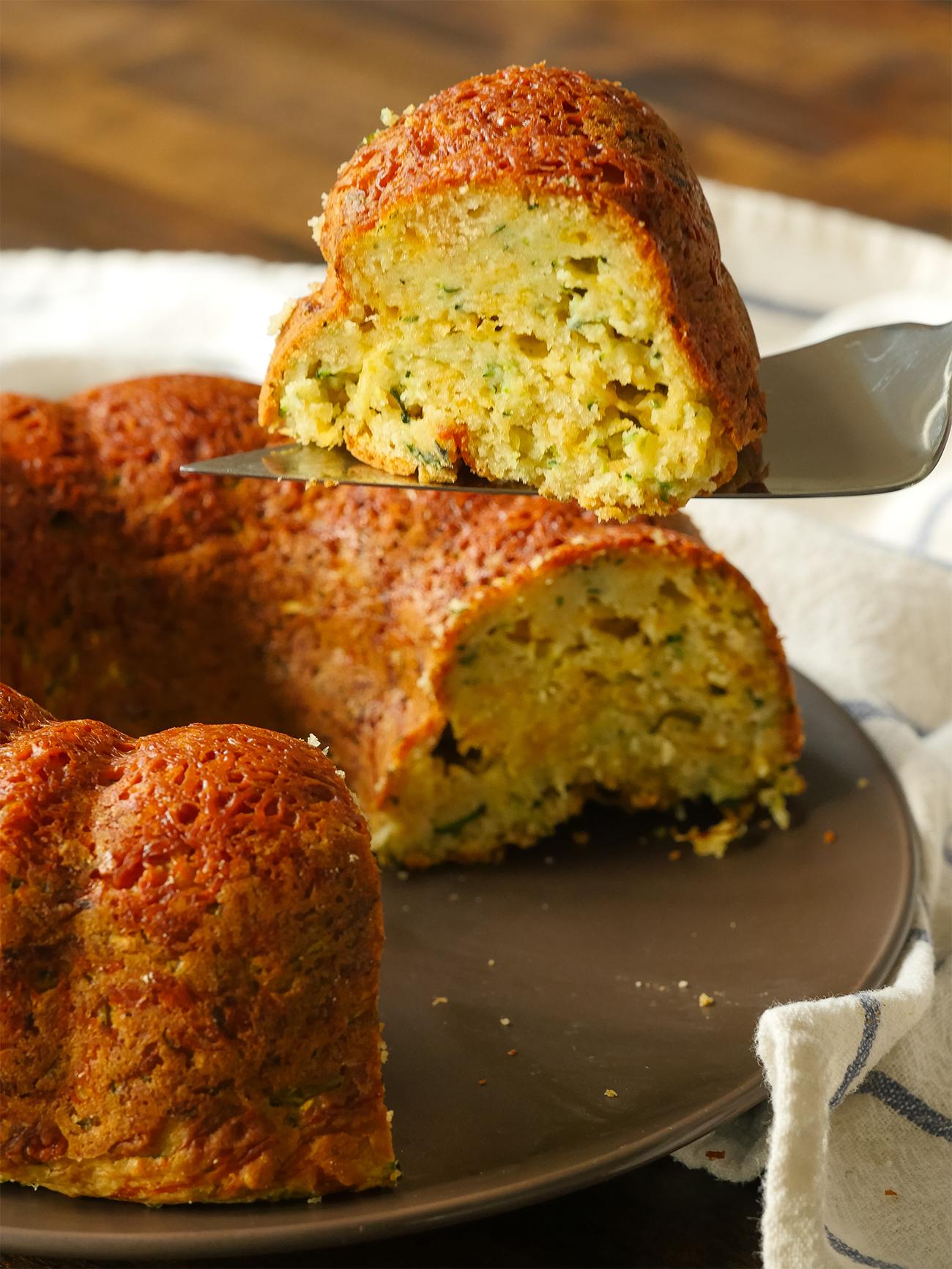 Zucchini Parm Bundt Bread Vertical 1