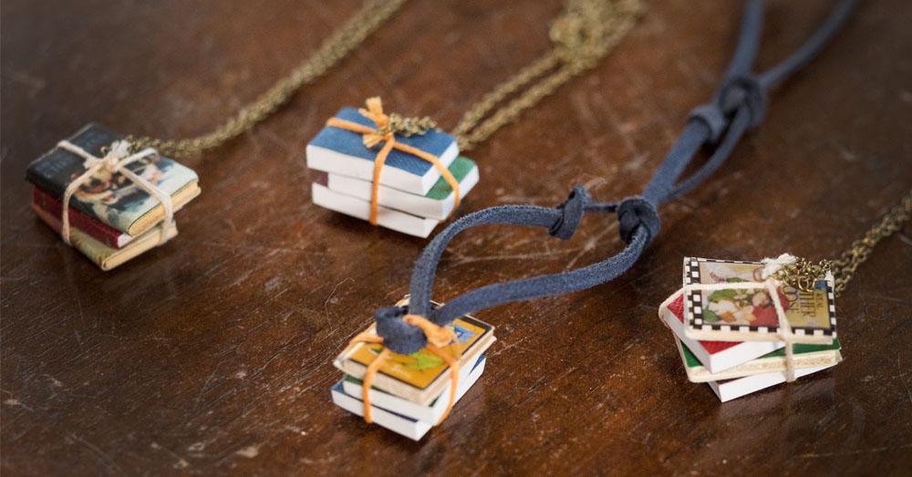 book necklace feature