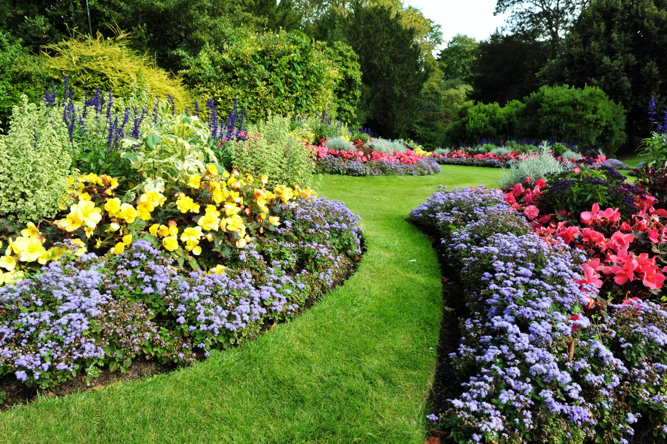 Flowerbeds and Grass Pathway in a Beautiful English Landscape Garden