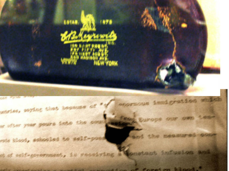 Two photos depicting assassination bullet damage to Theodore Roosevelt's speech manuscript and steel eyeglass case, via Wiki Commons