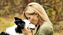 Girl kissing dogs head