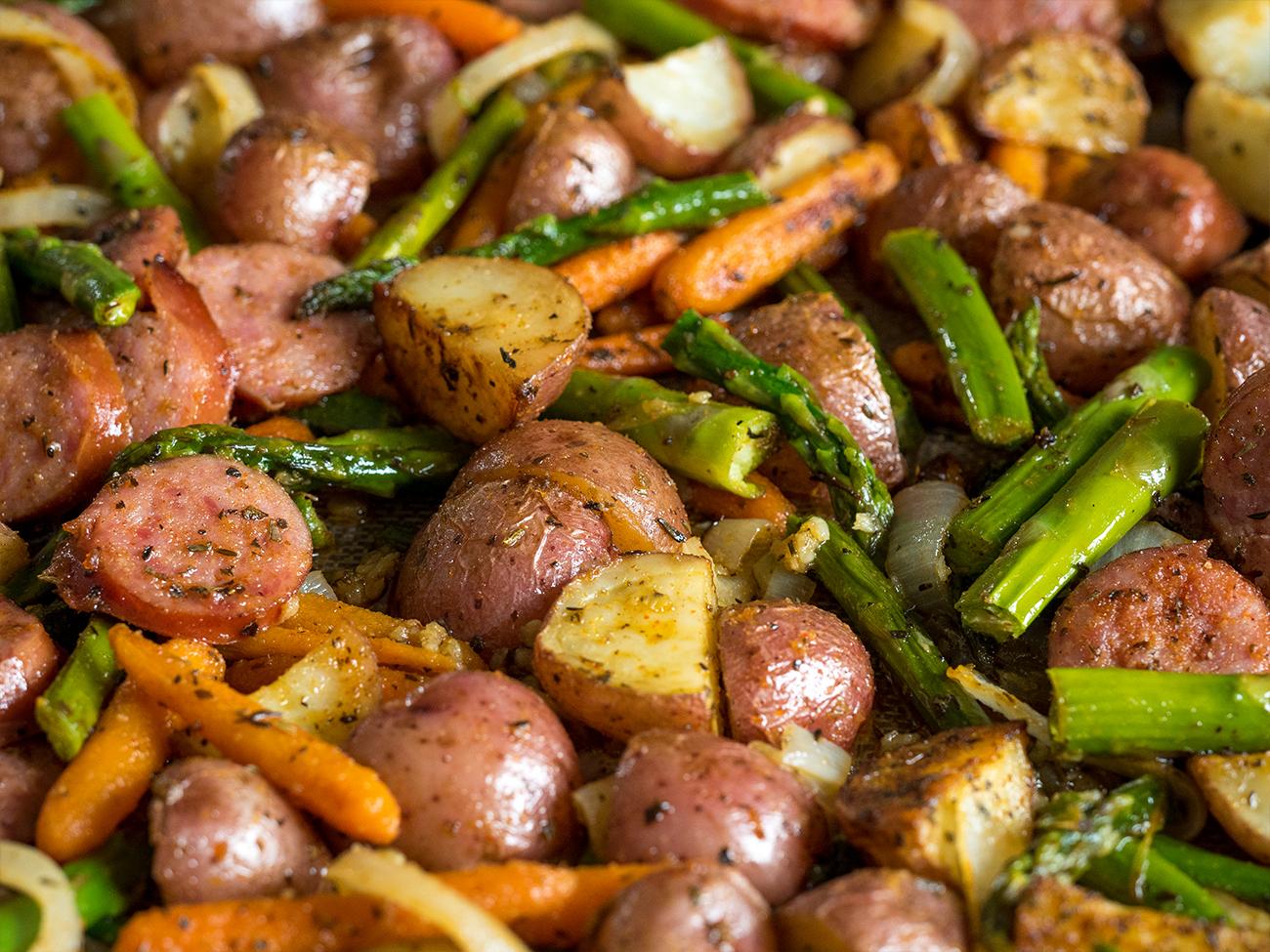 Kielbasa Veggie Sheet Pan Dinner Horizontal 6