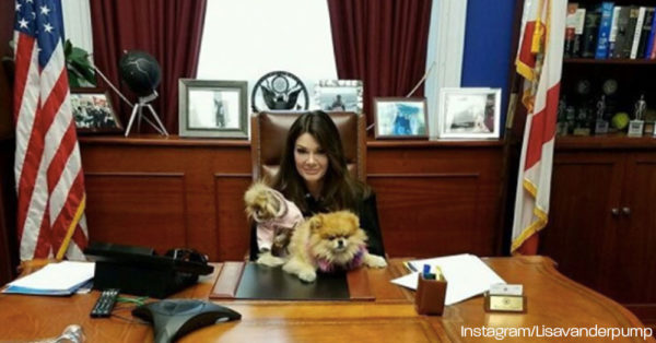 Lisa Vanderpump waits for a meeting with Rep. Vern  Buchanan.