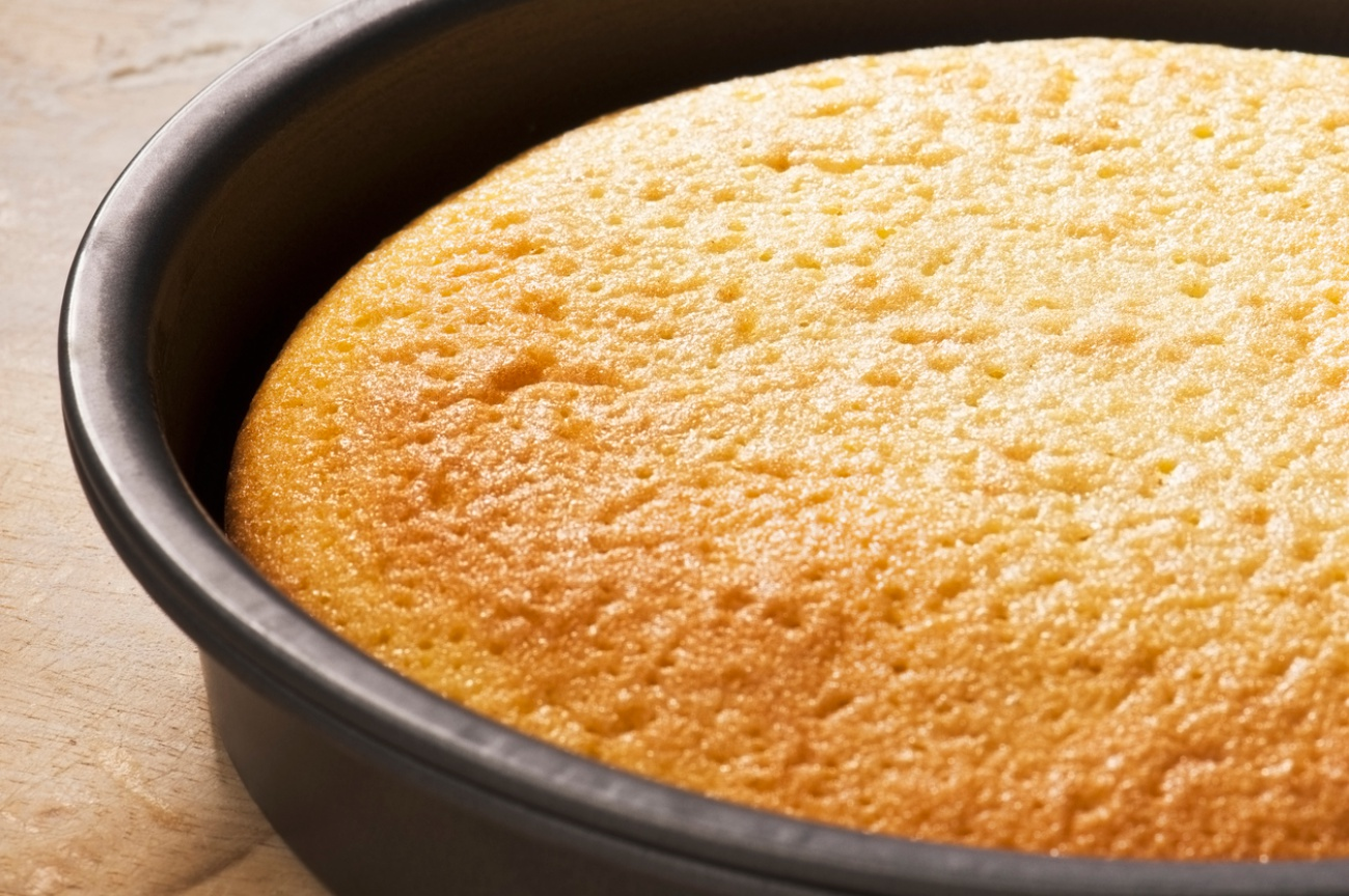 Freshly baked sponge cake in a round baking tin