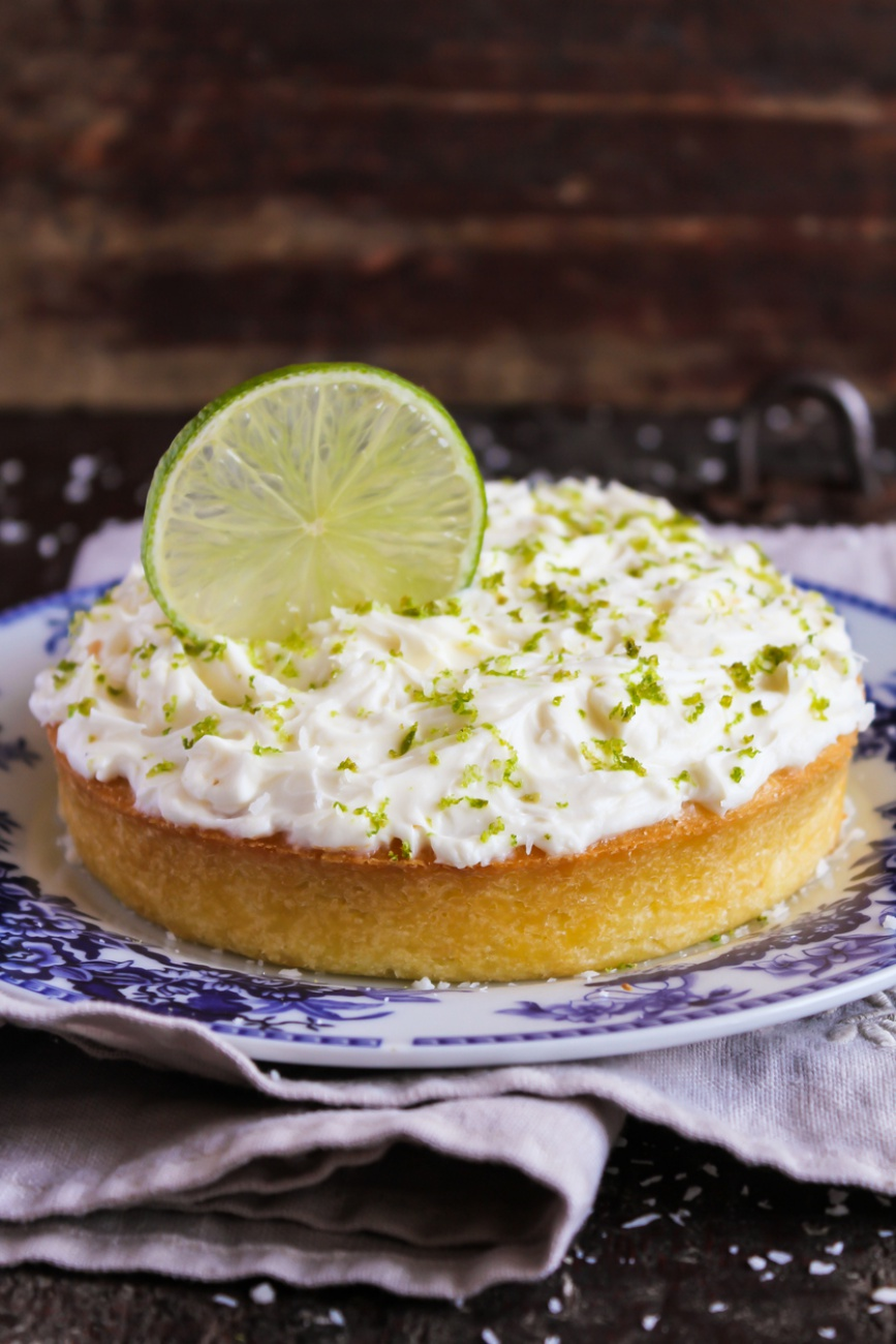 Pound cake with lemon, lime and freshly shredded coconut