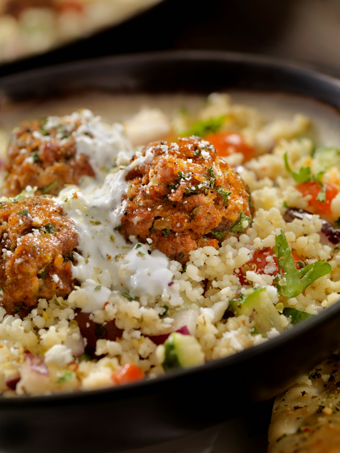 Lamb Meatballs with a Couscous Greek Salad and Tzatziki