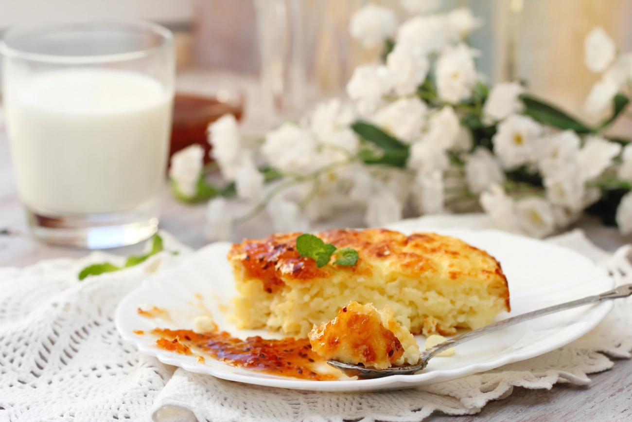 Portion of cottage cheese casserole