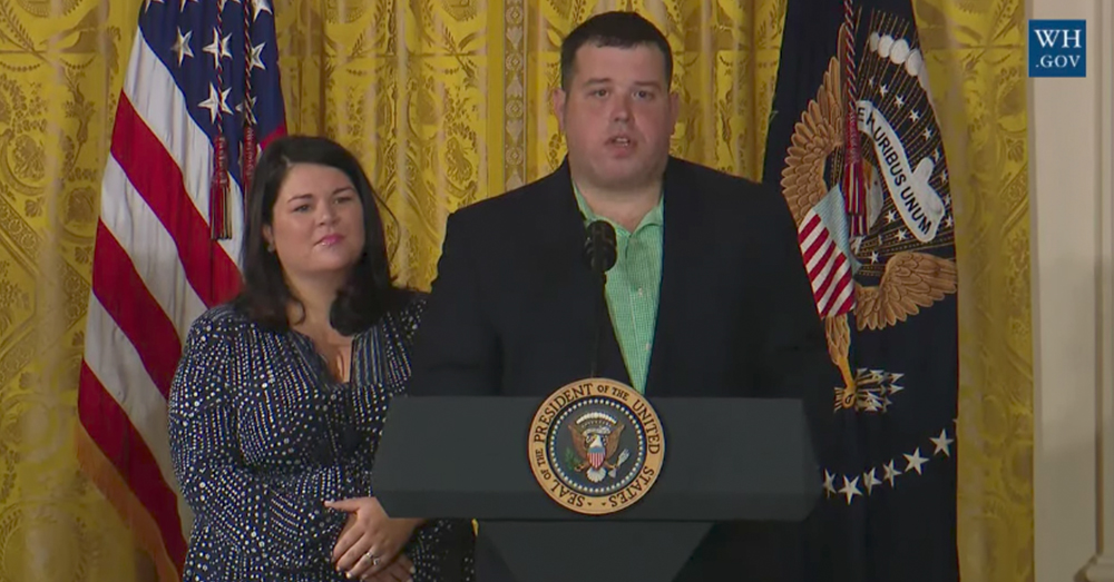 Photo: YouTube/The White House -- Sgt. Michael Verardo said he has been waiting years for VA reform after losing his leg in combat.