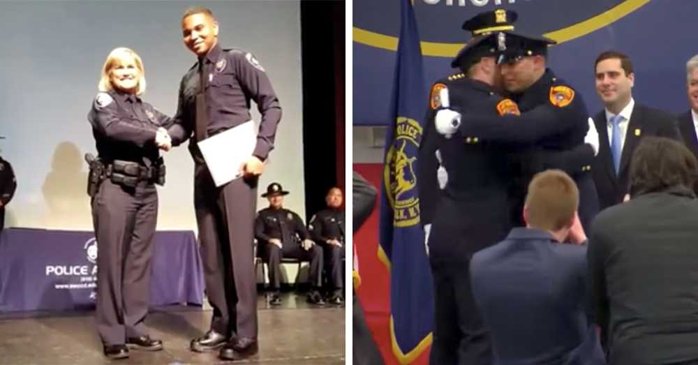 USMC veterans Christopher Lawrence (left) and Matthew Ferreira (right) graduating from their police academies.