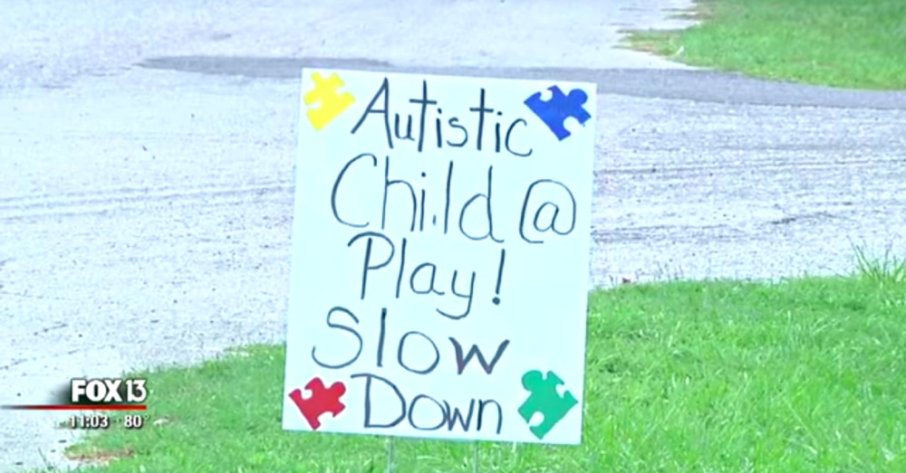 Jaymes has created his own signs to urge drivers to slow down.