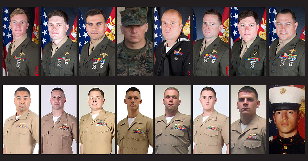 Photos: Marine Corps Forces Reserve -- The fallen 15 Marines and one Navy sailor were identified on Friday.