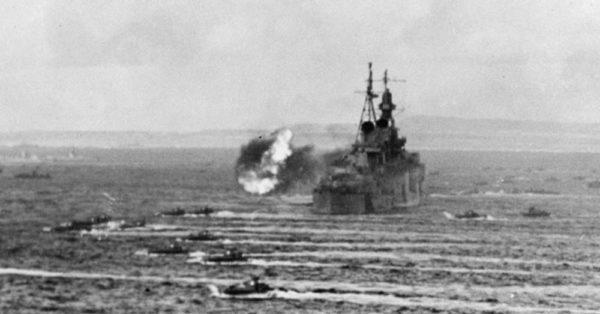 Source: Wikimedia Commons The USS Indianapolis during the shelling of Saipan.