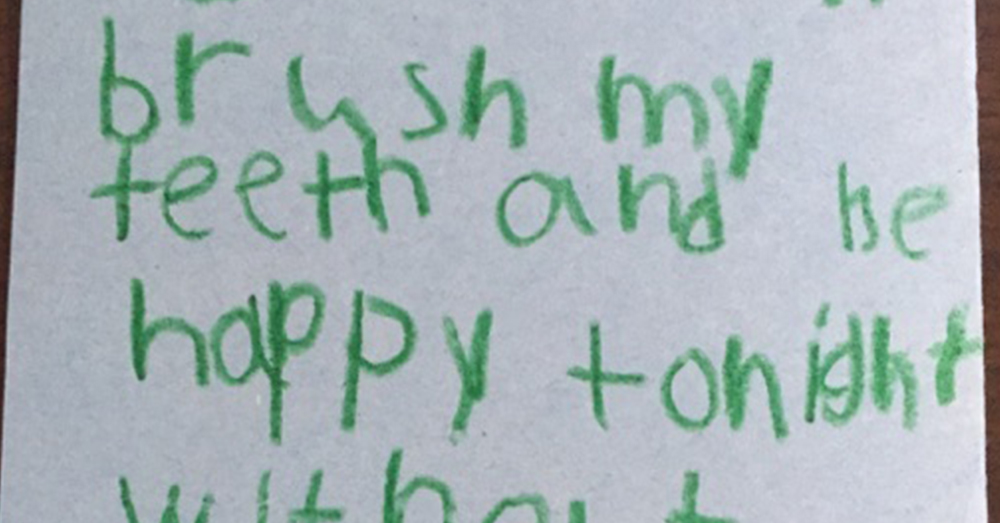 Photo: Together We Rise -- 7-year-old Antonio wrote a thank-you note after getting his first toothbrush from Together We Rise.