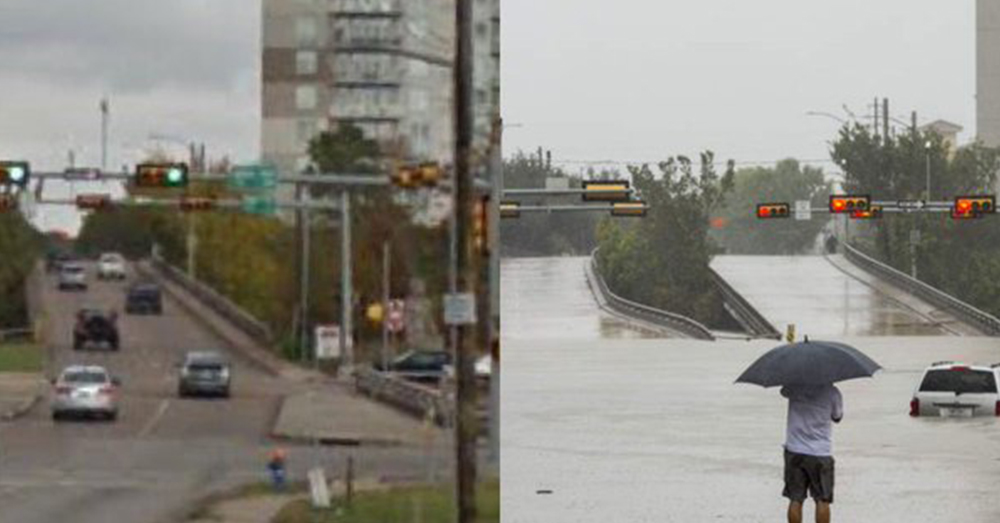 Photo: Twitter/The New York Times -- A comparison shot of the same intersection shows the flooding in Houston.