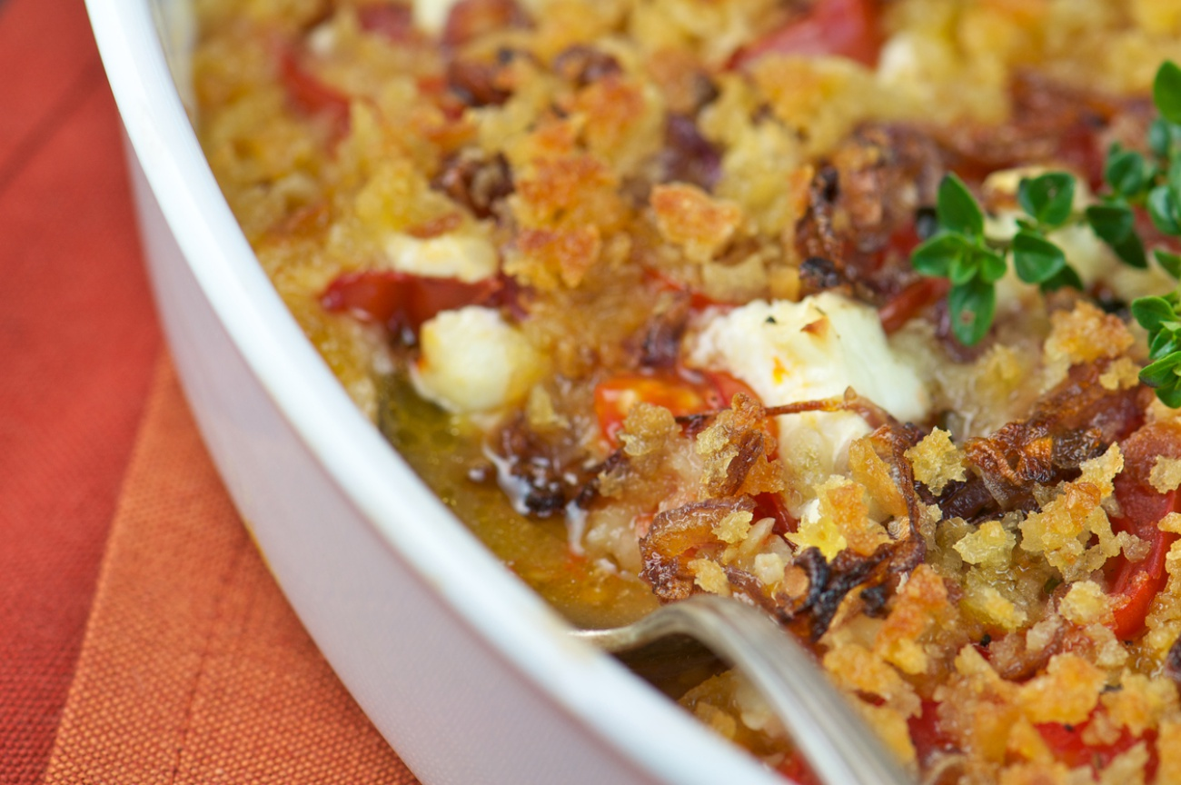 Close-up of Juicy Tomato Gratin with Goat Cheese