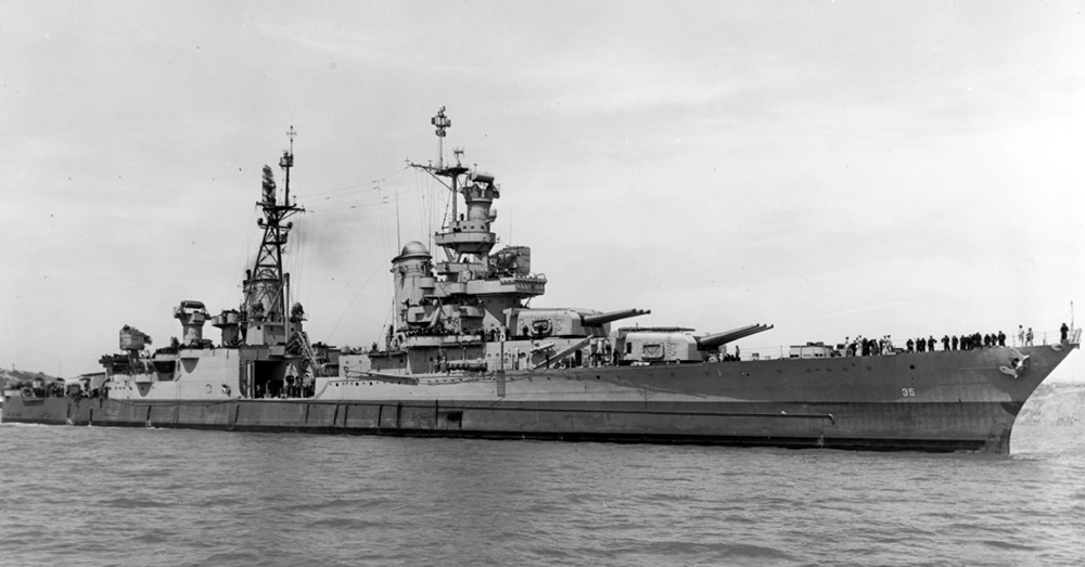 Photo: Naval History and Heritage Command -- The USS Indianapolis, photographed on July 10, 1945, just 20 days before sinking.