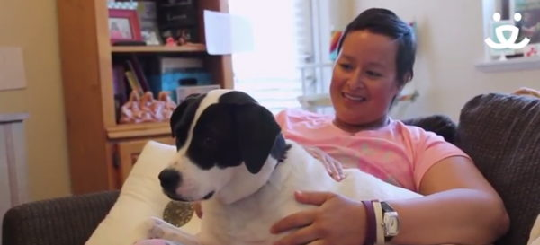 Jeneanne with Stella (Photo courtesy of Best Friends Animal Society/YouTube)