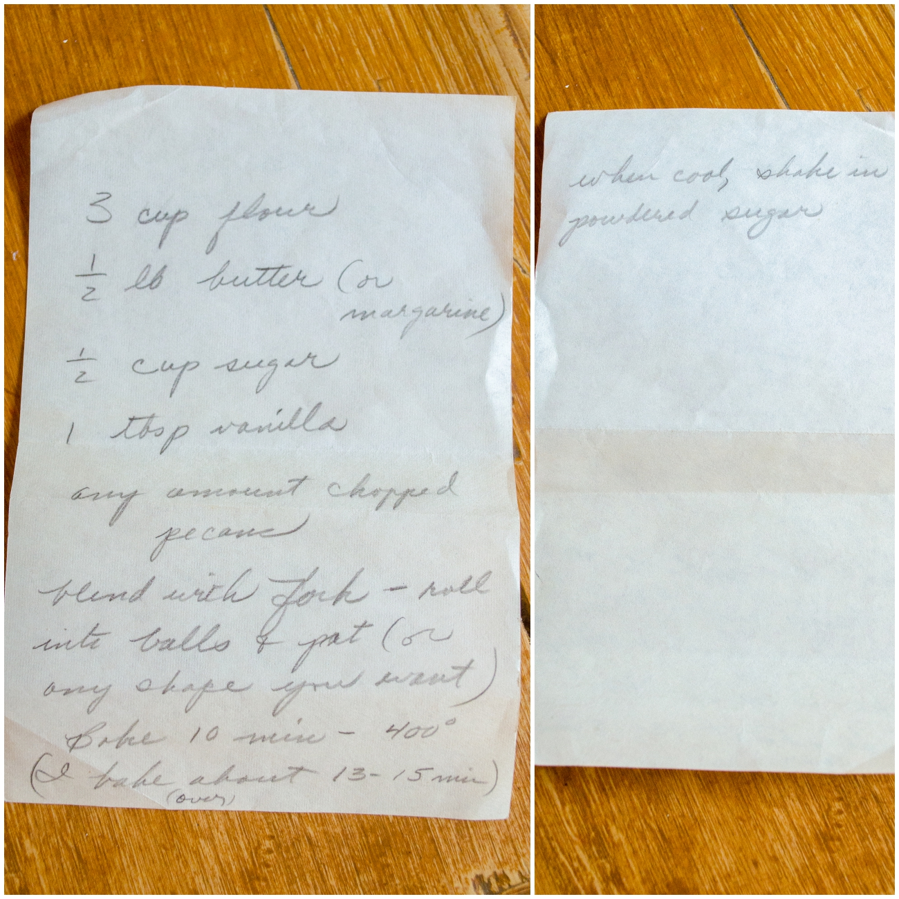 Pecan Ball Recipe Card