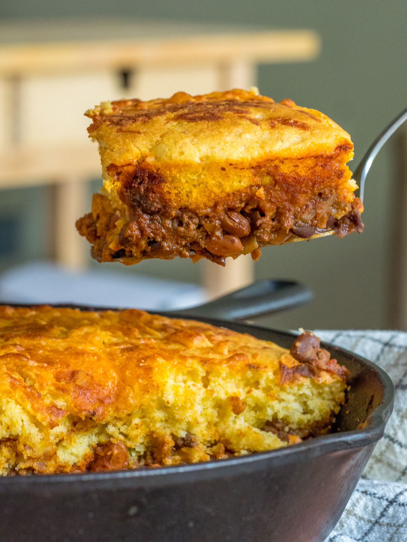 Skillet Chili Cornbread Pot Pie Vertical 3