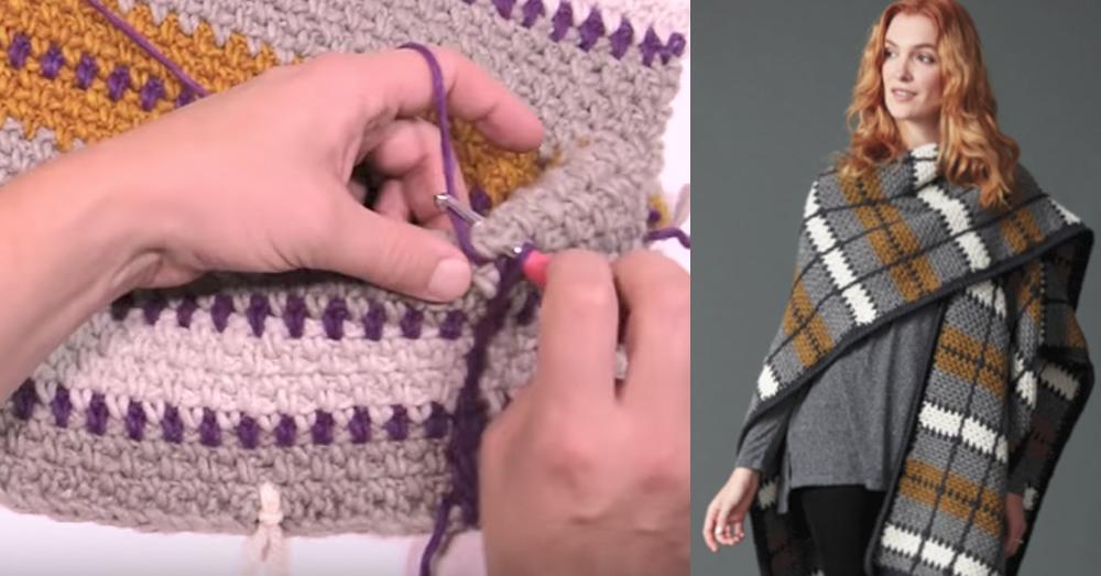crochet plaid feature