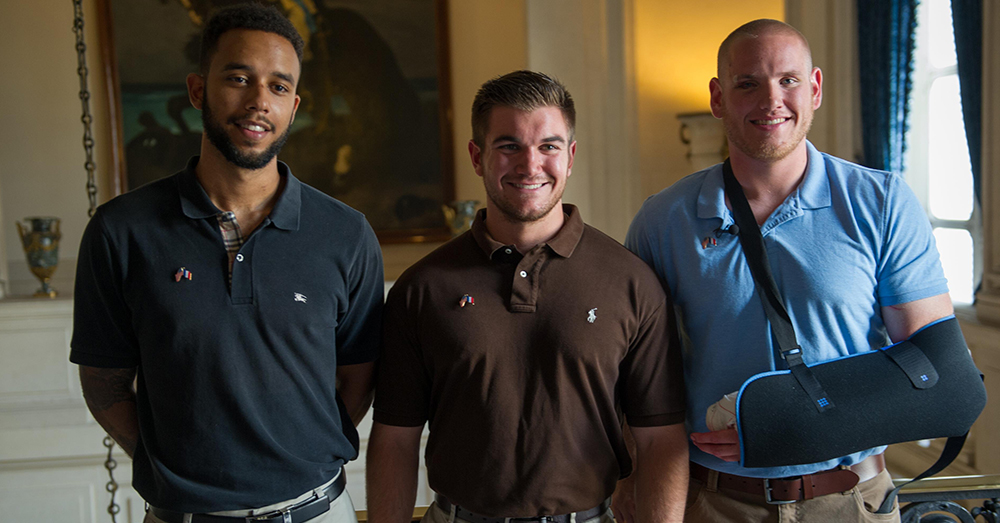 Photo: U.S. Air Force/Tech. Sgt. Ryan Crane -- Spencer Stone (right to left), Aleksander Skarlatos and Anthony Sadler pictured in Paris following the foiled terrorist attack.