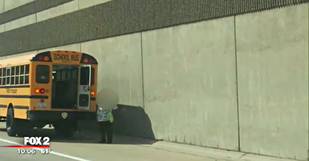 Fox2: Somehow the student managed to escape the school bus through the emergency exit.
