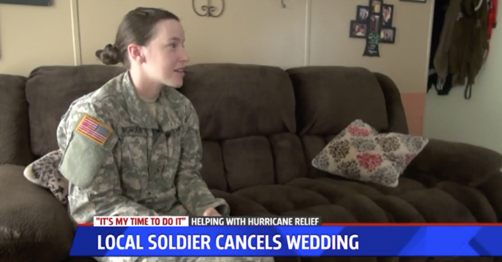 Photo: Fox17 -- Guardsman Elainnie Ingram didn't hesitate to put her service before her wedding plans when she was called for duty.
