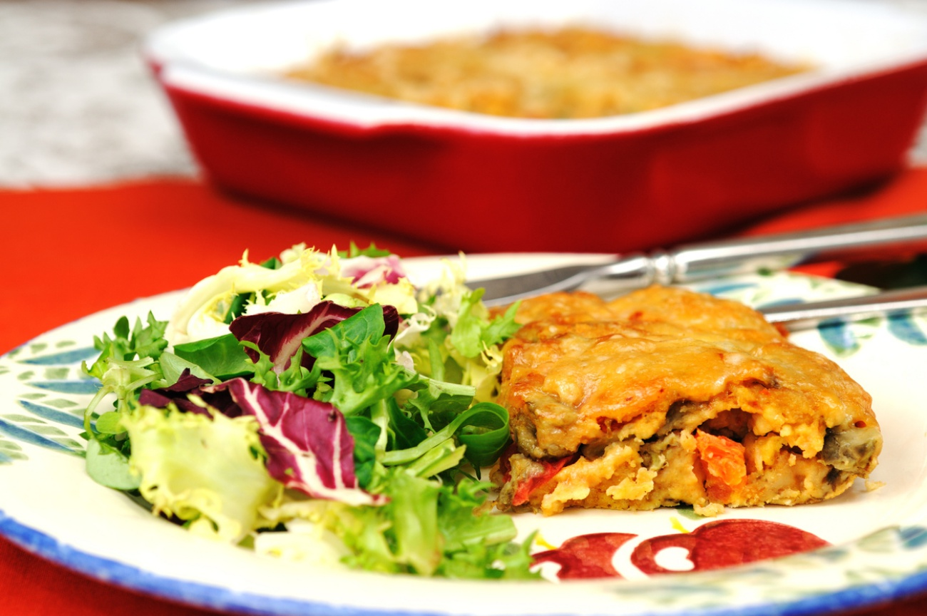Eggplant bake with green salad