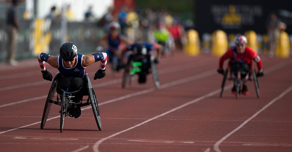 Photo: U.S. Navy/Mass Communication Specialist 2nd Class Nicolas C. Lopez -- Members of team USA compete in track and field during Invictus Games 2016.