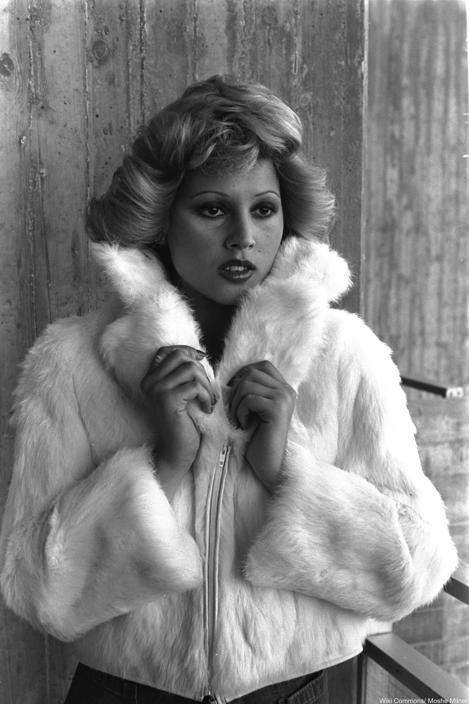 70s faux fur coat on model