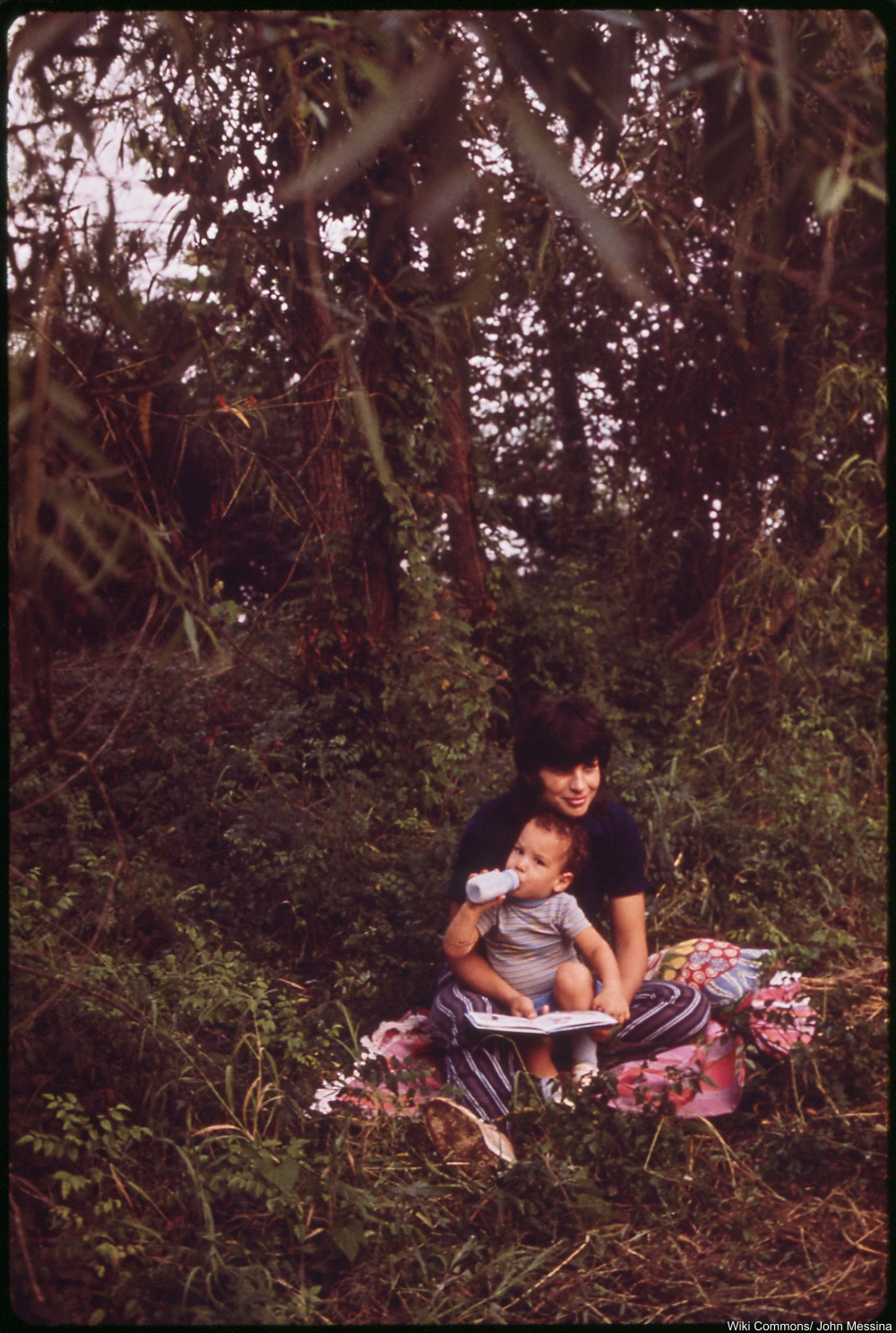 1970s mother in striped pants
