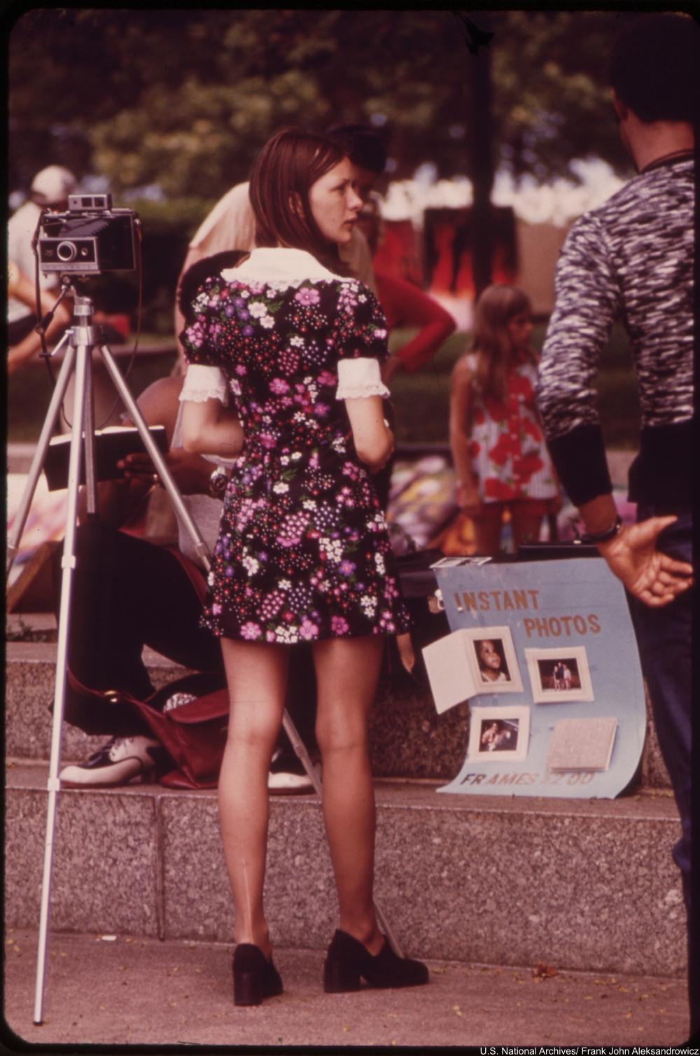 Woman in  babydoll dress 1970s