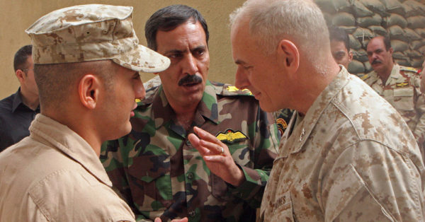 Source: U.S.Marines Maj. Gen. John F. Kelly, commanding general, Multi National Forces-West, speaks to Iraqi Brig. Gen. Nour al Din, the chief intelligence official in Al Anbar after a meeting aboard Camp Habbaniyah in 2008.