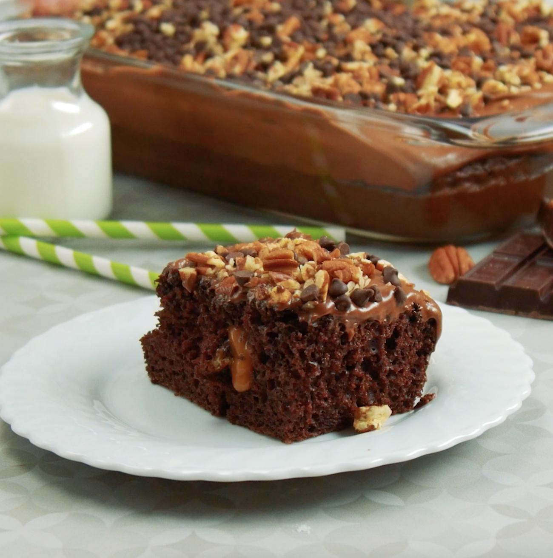 Chocolate Poke Turtle Cake