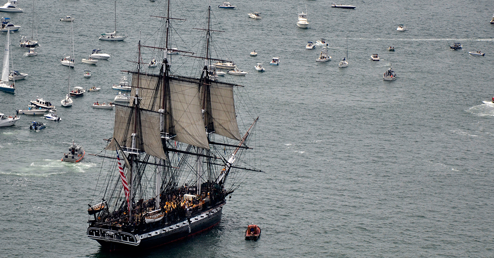 Photo: U.S. Navy/Mass Communication Specialist 2nd Class Kathryn E. Macdonald -- The USS Constitution sets sail for first time in years in Boston's waters.