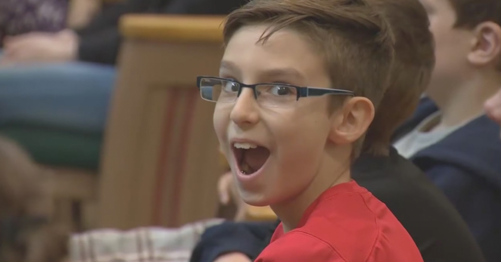 Photo: ABC News/Screenshot -- Sixth grader Damon Chiodo was excited to read an essay about his hero and brother, Army Specialist Devon Tomei.