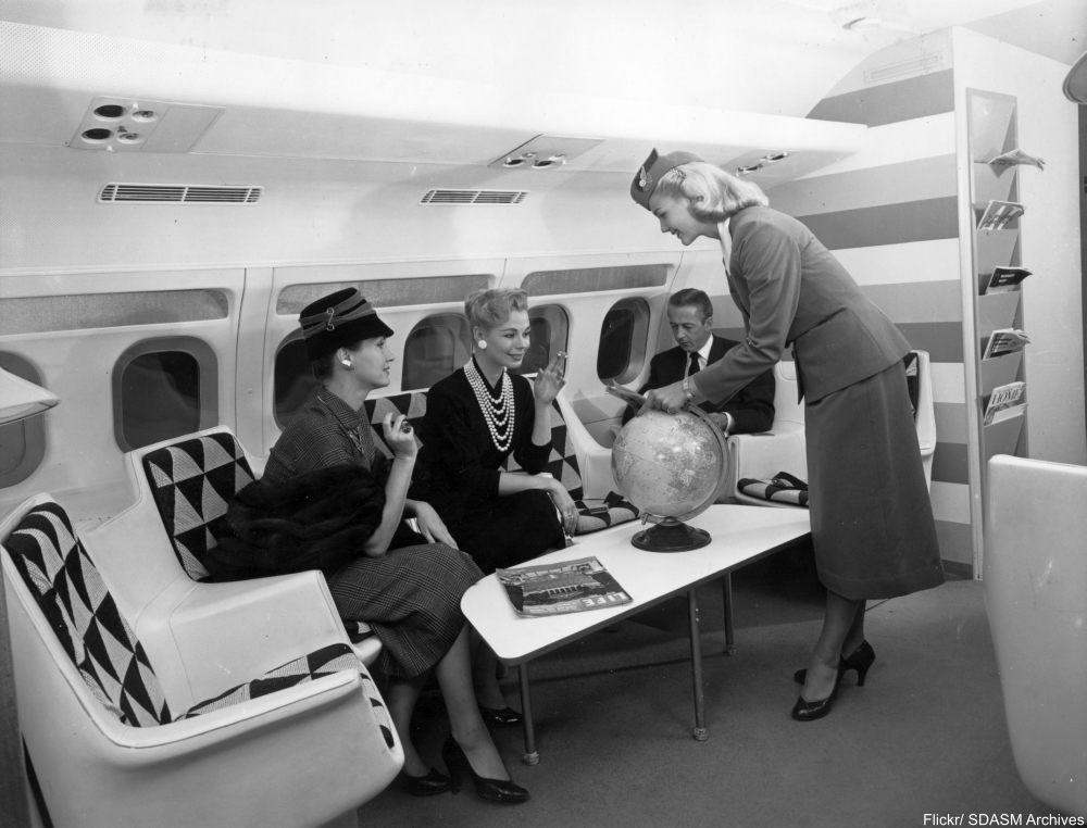 TWA 1960s publicity photo showing modern design inside a Convair 880