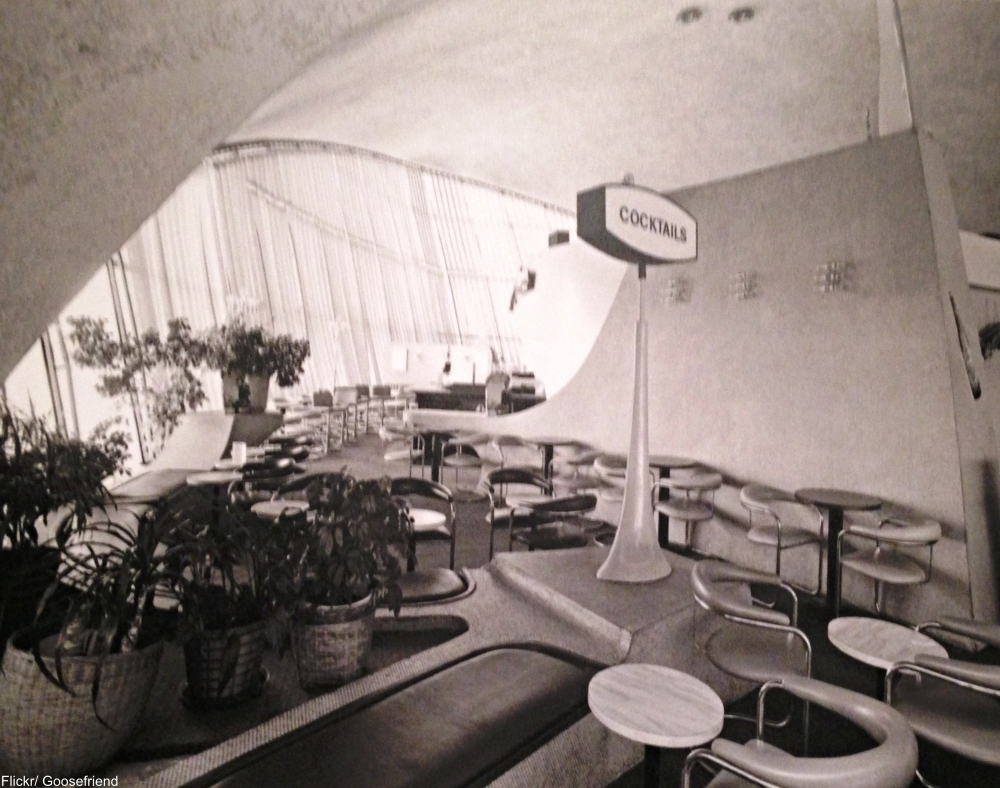 Wear and tear on the bench seating at the TWA Flight Center