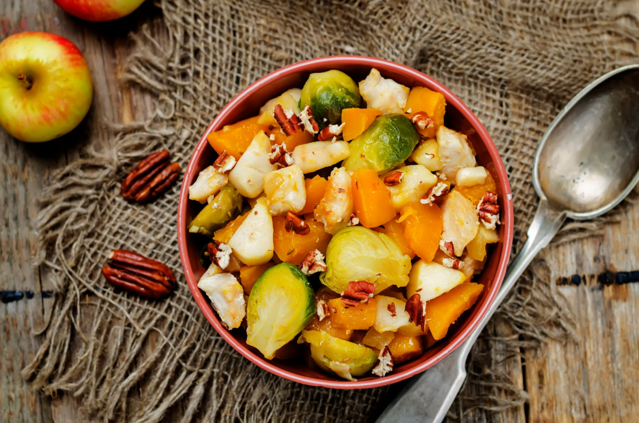 Brussels sprouts pumpkin apple chicken stew